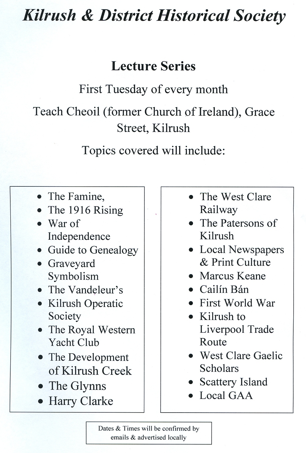 Kilrush Historical Society programme 18-May-2012